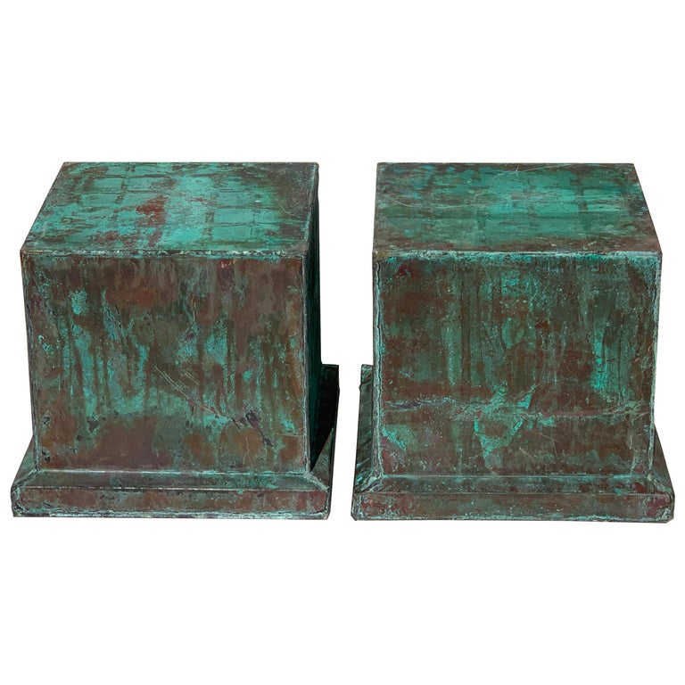 Pair of Industrial Patinated Copper Capitals or Pedestals For Sale