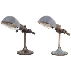 Industrial Task Lamp with Porcelain Shade, circa 1930