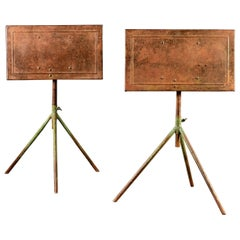 Pair of Industrial Tilt Top Green Painted Metal Tripod Tables