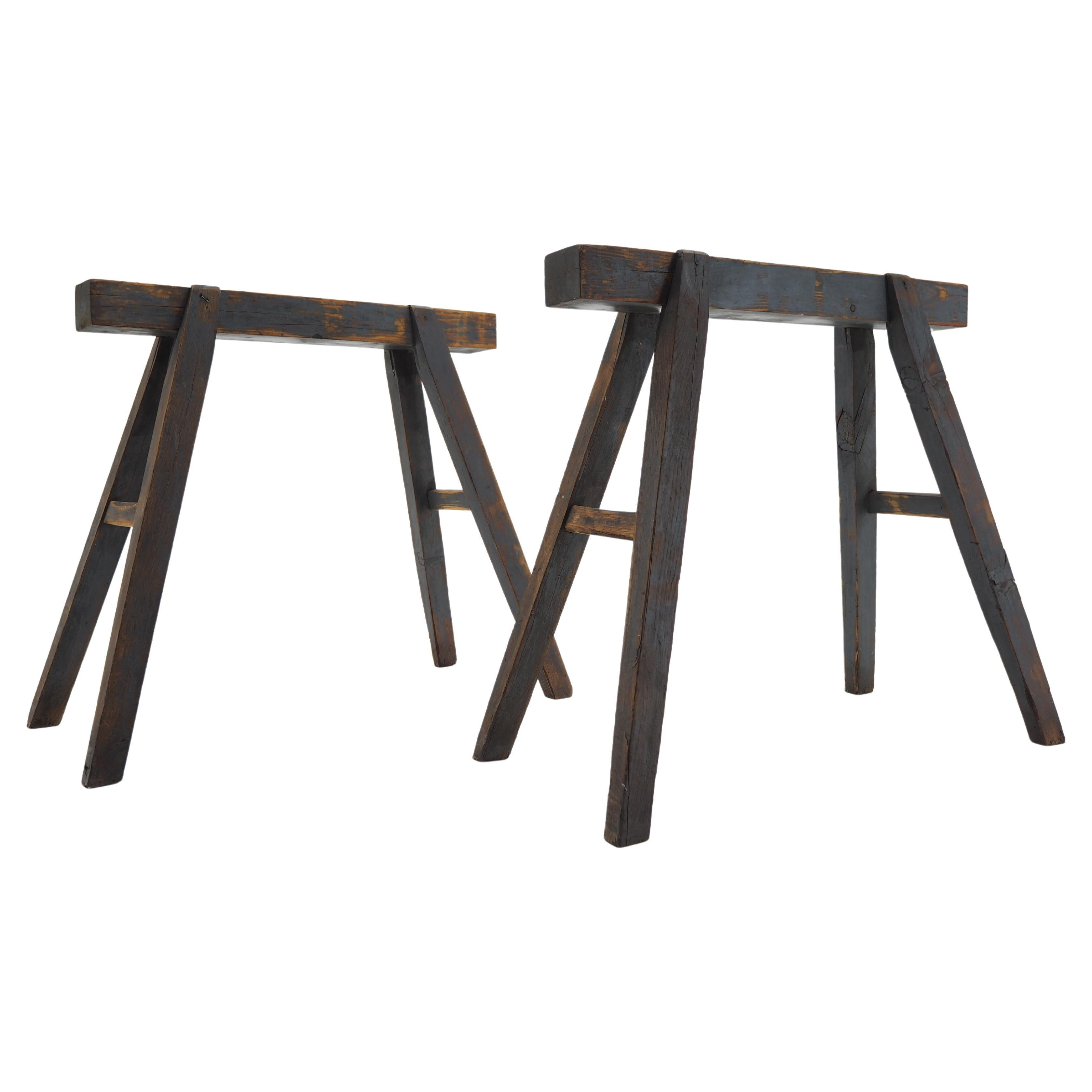 Pair of Industrial Trestle Table Bases, Early 20th Century