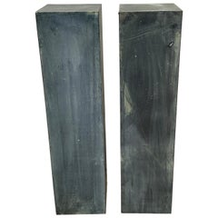 Pair of Industrial Verdigris Lead Columns