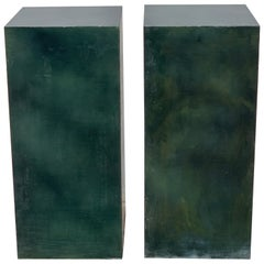 Pair of Industrial Verdigris Zinc Columns