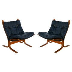 Pair of Ingmar Relling Black Leather Westnofa Siesta Lounge Sling Chairs
