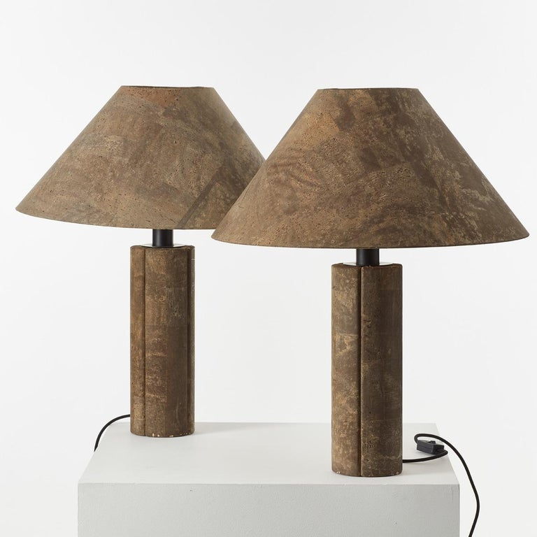 Pair of Ingo Maurer Cork Lamps for Design M, Germany, 1974 In Good Condition For Sale In London, GB
