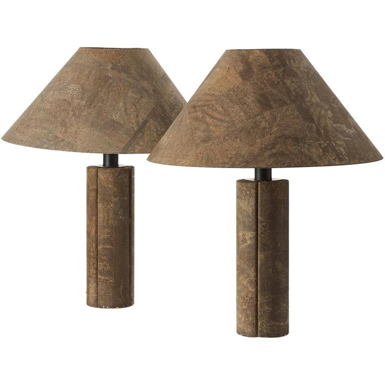 Pair of Ingo Maurer Cork Lamps for Design M, Germany, 1974 For Sale