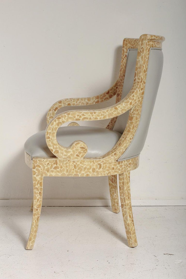 Colombian Pair of Inlaid Armchairs by Enriqué Garcel with Original Grey Leather Upholstery For Sale