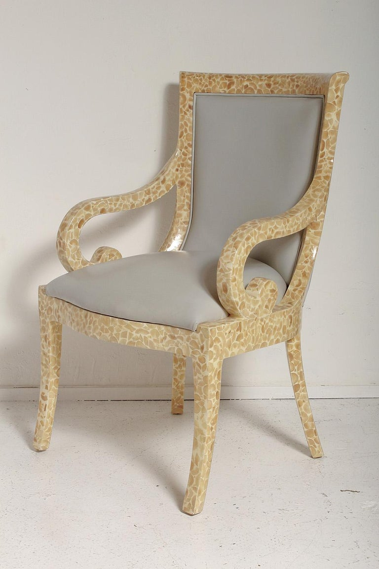 Inlay Pair of Inlaid Armchairs by Enriqué Garcel with Original Grey Leather Upholstery For Sale