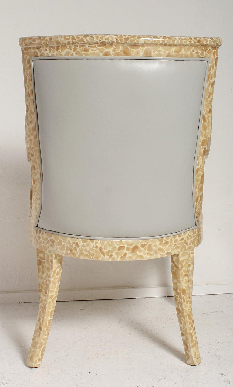 Pair of Inlaid Armchairs by Enriqué Garcel with Original Grey Leather Upholstery In Good Condition For Sale In North Miami, FL