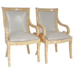 Pair of Inlaid Armchairs by Enriqué Garcel with Original Grey Leather Upholstery