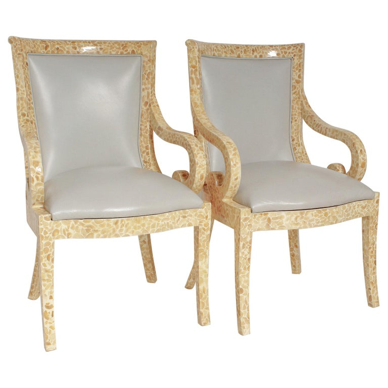 Pair of Inlaid Armchairs by Enriqué Garcel with Original Grey Leather Upholstery For Sale