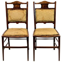 Pair of Inlaid Edwardian Chairs
