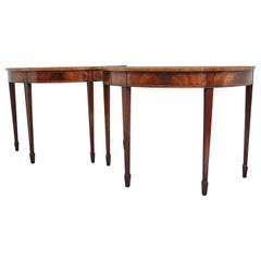 Pair of Inlaid Mahogany Console Tables