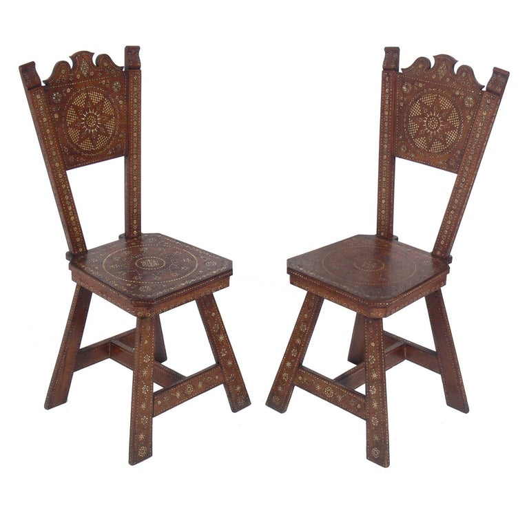 Bohemian Pair of Inlaid Moroccan Chairs For Sale