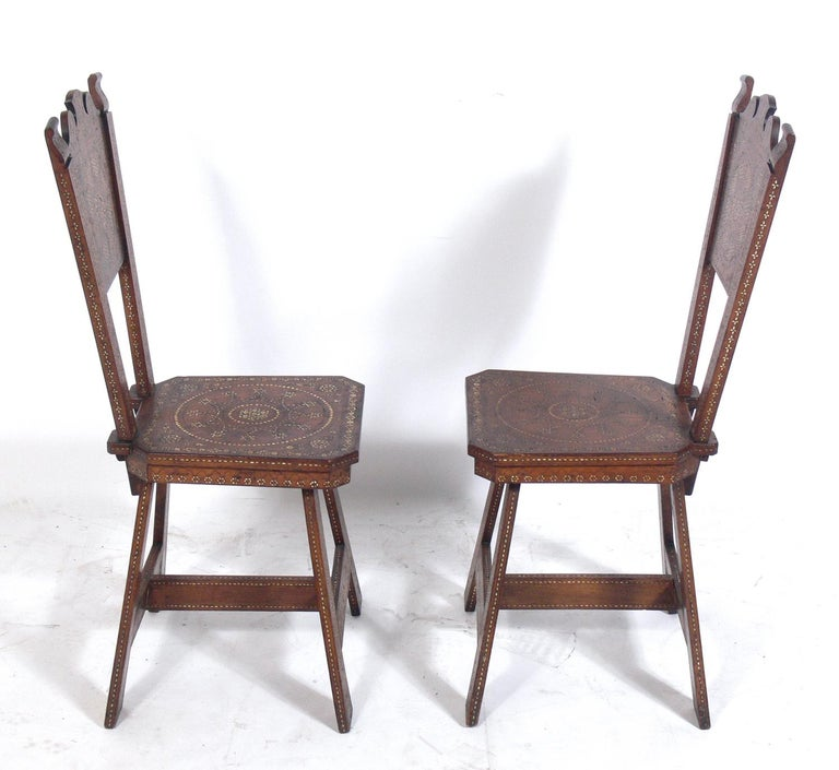 Pair of Inlaid Moroccan Chairs In Good Condition For Sale In Atlanta, GA