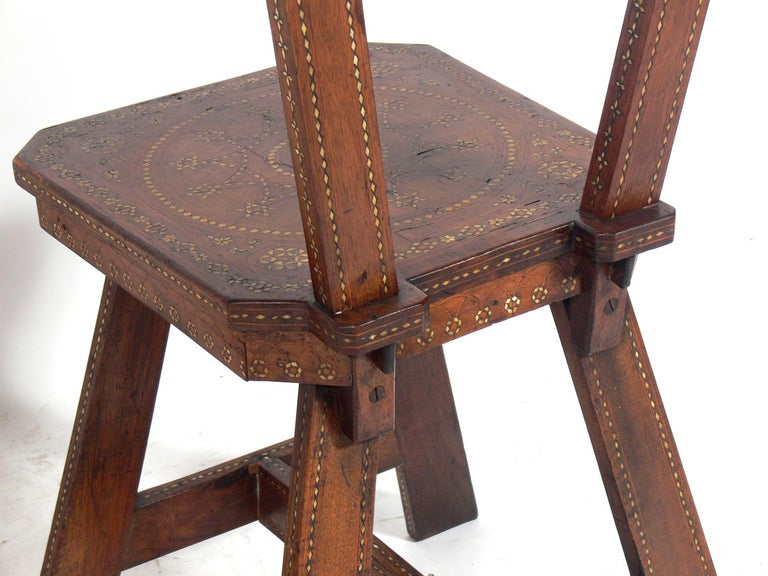 Mid-20th Century Pair of Inlaid Moroccan Chairs For Sale