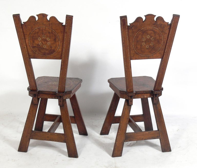 Bone Pair of Inlaid Moroccan Chairs For Sale