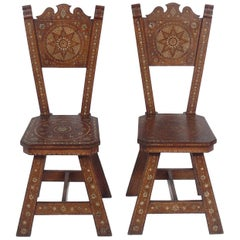 Pair of Inlaid Moroccan Chairs