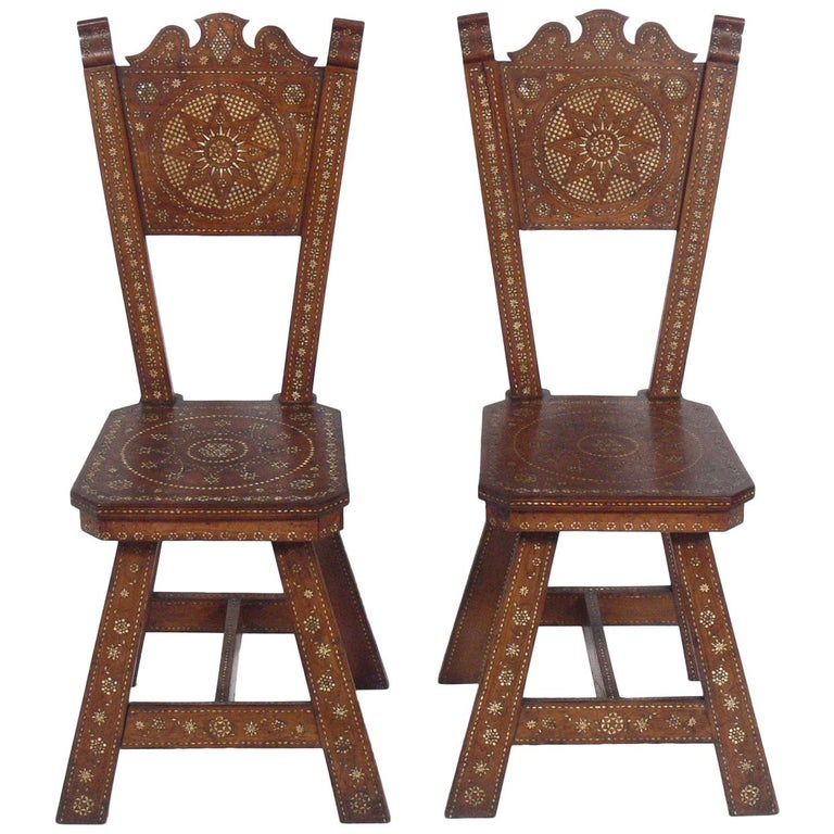 Pair of Inlaid Moroccan Chairs For Sale