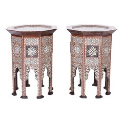 Pair of Inlaid Mother of Pearl Syrian End Tables or Stands