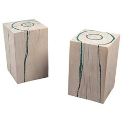 Pair of Inlaid Oak Side Tables by Suzanne Rippe, France, 2019