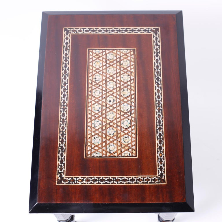 Mahogany Pair of Inlaid Syrian Tables For Sale