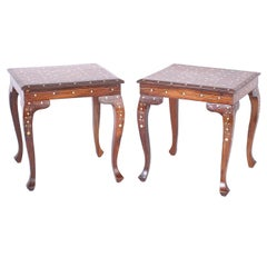 Pair of Inlaid Teakwood Stands or Tables