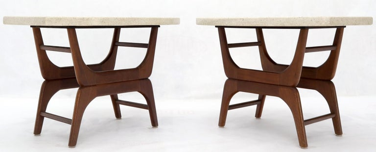 Mid-Century Modern Pair of Inlaid Terrazzo Boat Shape Tops Walnut Bases End Side Tables For Sale