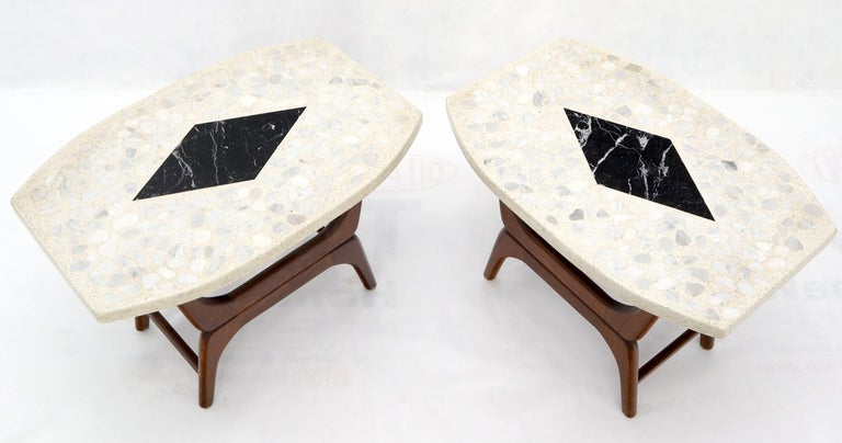 American Pair of Inlaid Terrazzo Boat Shape Tops Walnut Bases End Side Tables For Sale