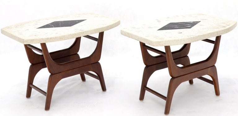 Oiled Pair of Inlaid Terrazzo Boat Shape Tops Walnut Bases End Side Tables For Sale