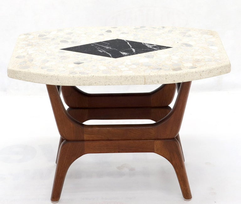 Pair of Inlaid Terrazzo Boat Shape Tops Walnut Bases End Side Tables In Excellent Condition For Sale In Blairstown, NJ