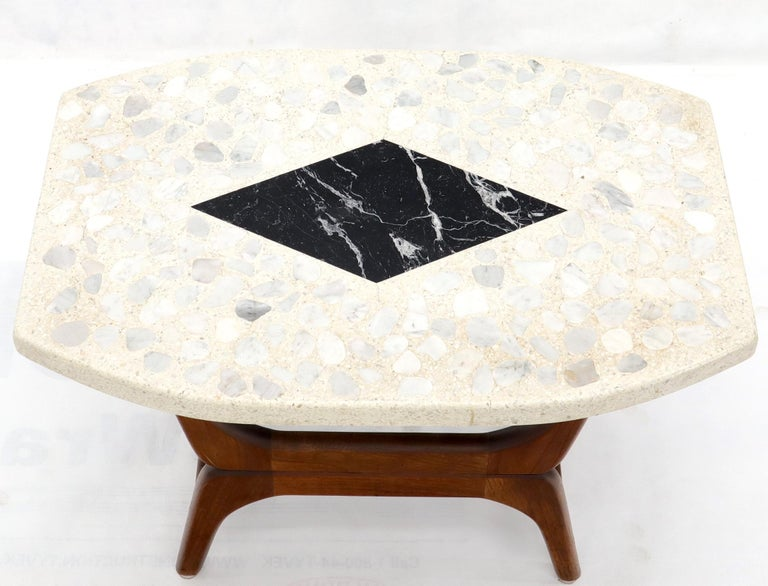 Pair of Inlaid Terrazzo Boat Shape Tops Walnut Bases End Side Tables For Sale 1