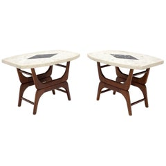 Pair of Inlaid Terrazzo Boat Shape Tops Walnut Bases End Side Tables