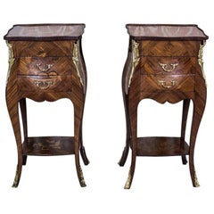 Pair of Intarsiated Nightstands, circa the Turn of the 19th and 20th Century
