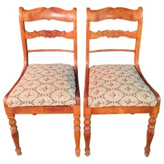 Pair of Interesting Biedermeier Chairs, circa 1840 Cherry Wood