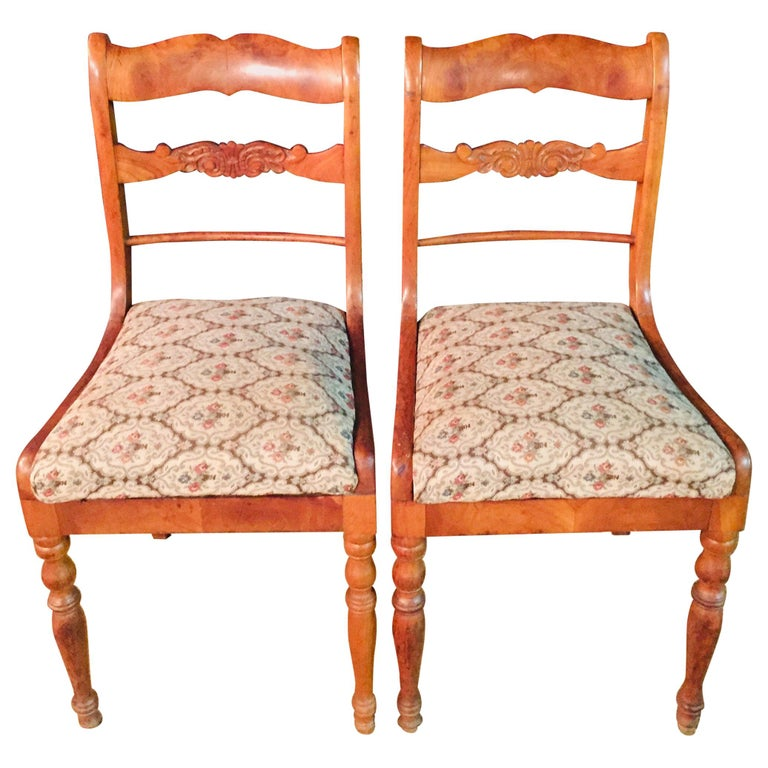 Pair of Interesting Biedermeier Chairs, circa 1840 For Sale