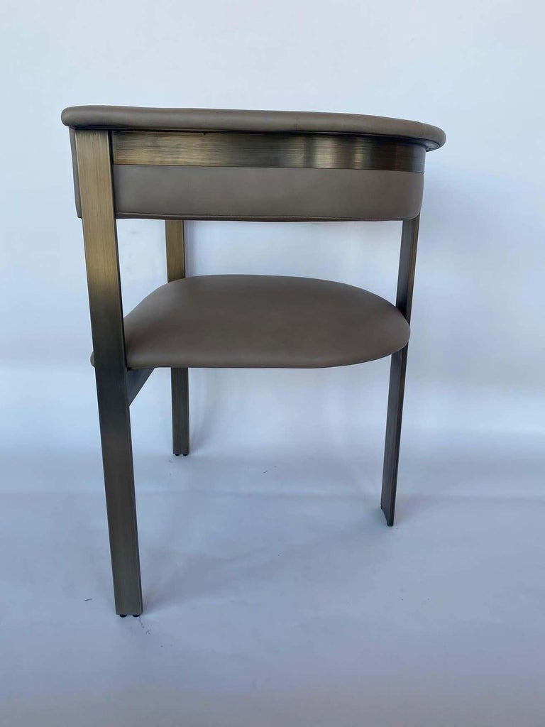 Leather Pair of Interlude Home Darcy Dining Chairs For Sale