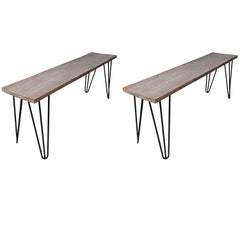 Pair of Ipe and Black Iron Hairpin Leg Benches, Short