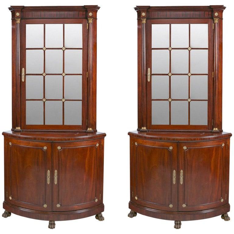 Pair of Irish 19th Century Corner Cabinets For Sale