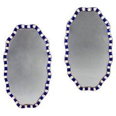 Pair of Irish Cut Glass Anamorphic Mirrors