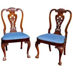 Pair of Irish Georgian Walnut Side Chairs