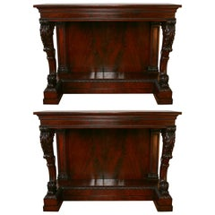 Pair of Irish Mahogany Regency Console Tables, circa 1820-1846