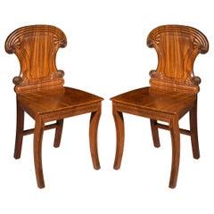 Pair of Irish Regency Klismos Hall Chairs, circa 1820