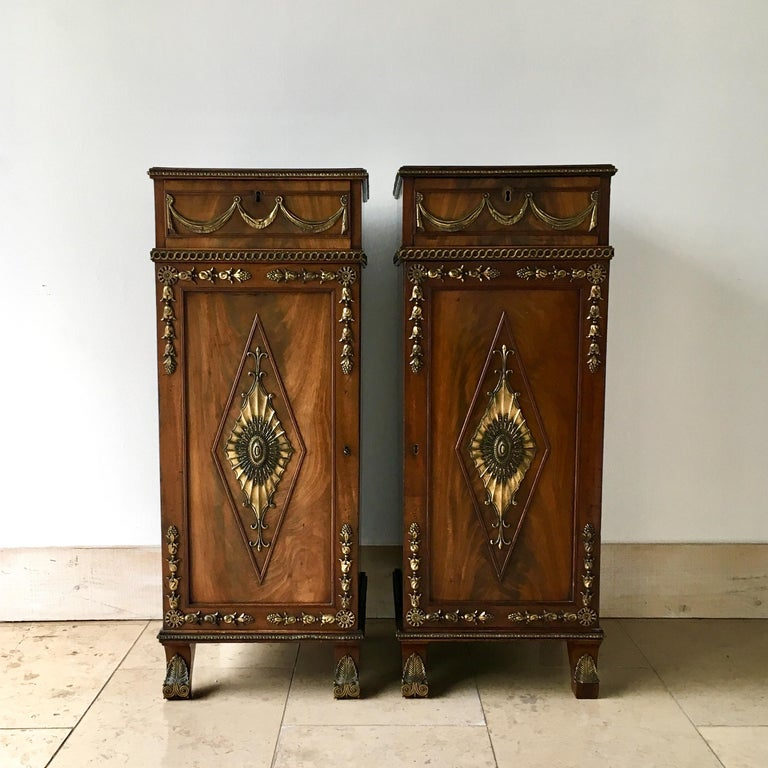 Pair of Irish Regency mahogany pedestals circa 1820 in unrestored original condition.