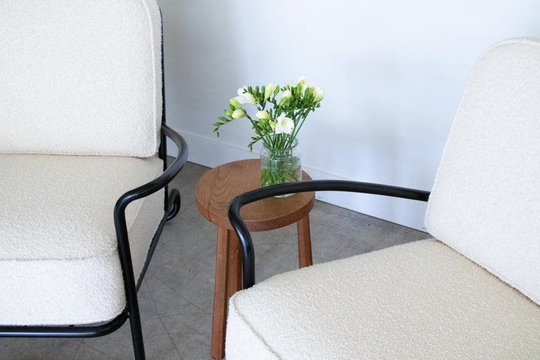 Pair of Iron and Boucle Chairs with Ottomans For Sale 5