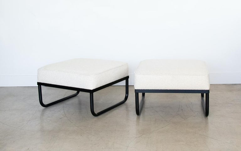 Pair of Iron and Boucle Chairs with Ottomans For Sale 6