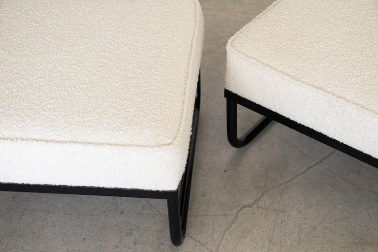 Pair of Iron and Boucle Chairs with Ottomans For Sale 7