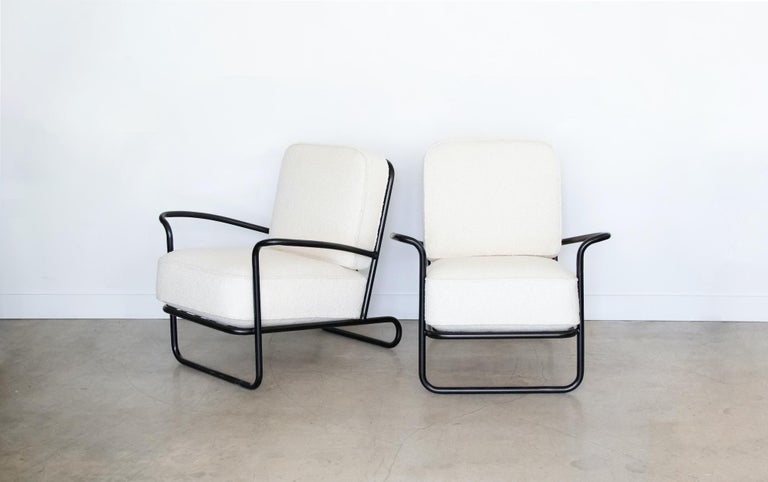 Pair of Iron and Boucle Chairs with Ottomans For Sale 8