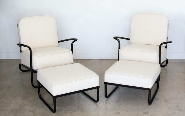 American Pair of Iron and Boucle Chairs with Ottomans For Sale