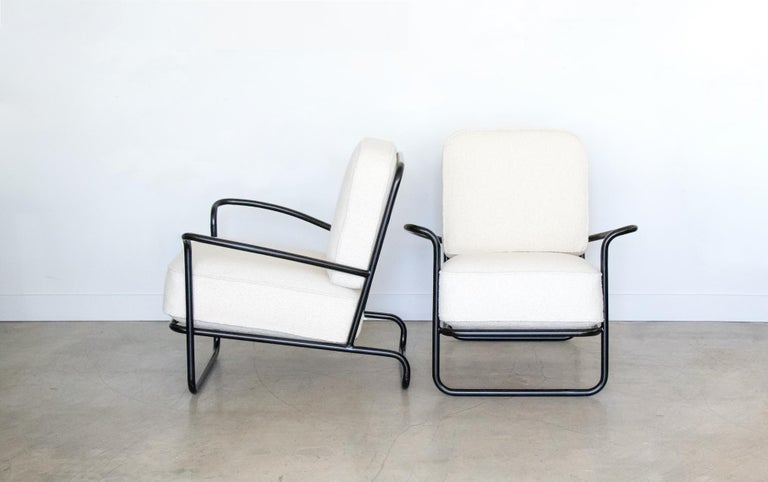 Pair of Iron and Boucle Chairs with Ottomans In Good Condition For Sale In Los Angeles, CA