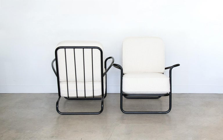 20th Century Pair of Iron and Boucle Chairs with Ottomans For Sale